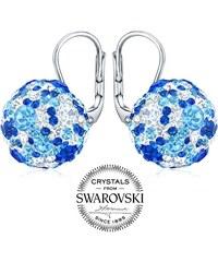 8a3d245b7 Silvego Stříbrné náušnice kuličky 13 mm se Swarovski Crystals tmavě modrá  B36120db