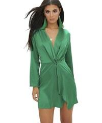7457ec147491 PRETTYLITTLETHING Saténové zelené wrap šaty