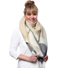 Silk Worm Velký vlněný šátek béžový - 16078 4ee5e4a679