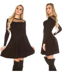 01e72242b321 Pletené šaty v korzetovém vzhledu se síťovinou Koucla černé
