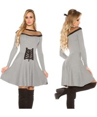 e33fee1bc8fa Pletené šaty v korzetovém vzhledu se síťovinou Koucla šedé