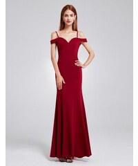 Ever-Pretty Vínové dlouhé elegantní dámské šaty s odhalenými rameny 576b082c66