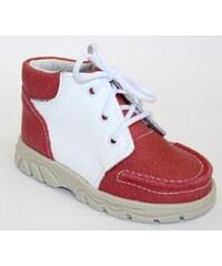 První krůčky Detské kožené kožené celoročné topánky - červeno-biele 95b5d9fc3d8
