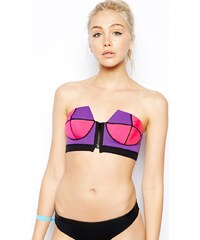 N.L.P - Top de bikini bandeau style bustier en néoprène avec fermeture éclair - Multi