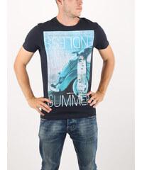 038dfe5a35c Breezy Tmavě modré stylové tričko s dlouhým rukávem a potiskem ...