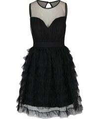 e3baf0be6817 Čierne šaty s priesvitným dekoltom a tylovou sukňou Little Mistress