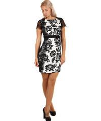 dd3d0923f28f Glara Spoločenské šaty s kvetinovou potlačou a čipkou