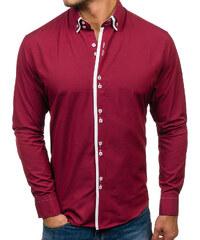 Bordová pánska elegantná košeľa s dlhými rukávmi BOLF 1721 cfc526cb2a0