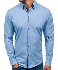 ecb986e36656 Blankytná pánska elegantá košeľa s dlhými rukávmi BOLF 4706