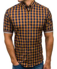 401b28efef4a Hnedá pánska kockovaná košeľa s krátkymi rukávmi BOLF 4508