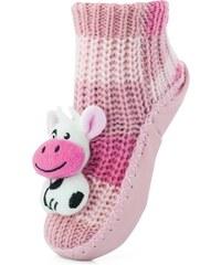 35bff44423e Attractive Dívčí ponožky s podrážkou Kravička - růžové