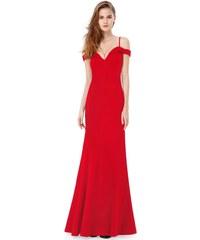 Ever-Pretty Červené dlouhé elegantní dámské šaty s odhalenými rameny 2648ca978b