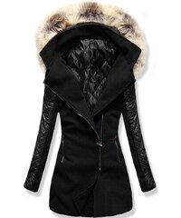 8877aa0b9b MODOVO Dlhý dámsky kabát s kapucňou 6710 čierny