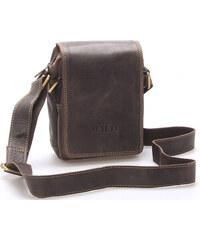 97c77ac4db WILD collection Malá pánska kožená taška tmavo hnedá - WILD Ethan hnedá