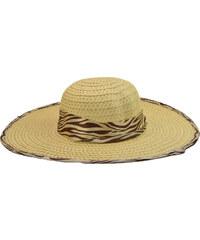 39bcaed735f Dámský letní klobouk slámové barvy se stuhou a obšitím s motivy zebry