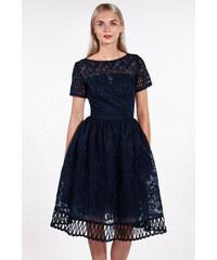 5aaa0064942b Chi-Chi London tmavomodré háčkované šaty