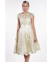 90265c4cba1b Chi-Chi London béžovo-zlaté čipkované šaty
