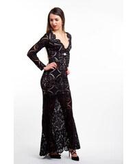 Love Triangle Čierne dlhé čipkované šaty f4c284496da