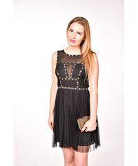 6c169a9a6200 Warehouse čierne plisované šaty s vybíjanými detailmi