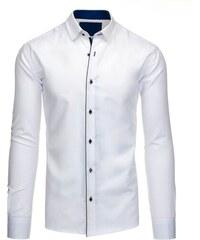 6c3cee69757 Dstreet Bílá pánská košile s modrým lemem