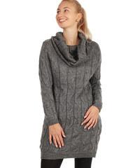 Glara Dámské zimní úpletové svetrové šaty s dlouhým rukávem fe6e3db9a4
