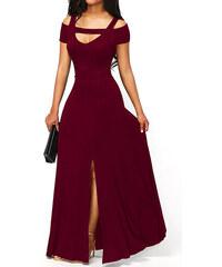 NoName 02 Společenské šaty dlouhé s rozparkem vínové S f44653e101