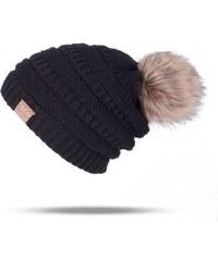 Cixi Dámská zimní čepice s bambulí Černá 47c74d46b9