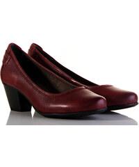 Vínové dámské boty na podpatku  a4ef48a209