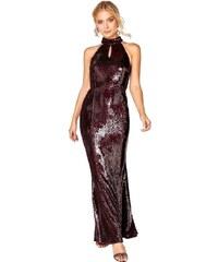1cbcd72f2ba LITTLE MISTRESS Vínové flitrové maxi šaty s obojkovým krkem