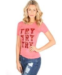 430023ae357e Guess dámské růžové triko s flitry