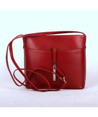 Vera pelle (Itálie) Malá kožená tmavěčervená crossbody kabelka no. 44 806d116d09