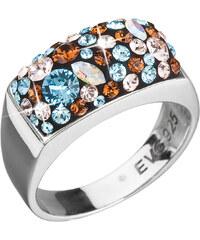 EVOLUTION GROUP Strieborný prsteň s krištáľmi Swarovski modrý 35014.3 6830ae12bc3