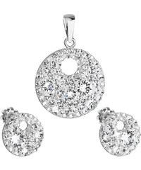 4f2976224 EVOLUTION GROUP Sada šperků s krystaly Swarovski náušnice a přívěsek bílé  kulaté 39148.1