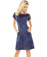 449c530d259 Numoco Džínové šaty s krátkými rukávy tmavé