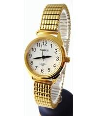 Dámské zlacené čitelné hodinky Foibos 37002 s pérovacím páskem 5280ad8dc72