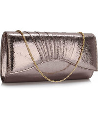 4053127052 L&S Fashion Psaníčko Grey Metallic Clutch Bag - šedé LSE00305 - Grey