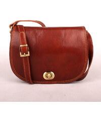 Vera pelle (Itálie) Tmavěhnědá středně velká kožená crossbody kabelka no. 50 e797c297d6