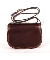 Vera pelle (Itálie) Tmavěhnědá malá kožená crossbody kabelka no. 46 fb1a19a7ca