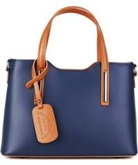 5694e5e0c5c Talianske kožené kabelky luxusné na rameno Carina modré s camel