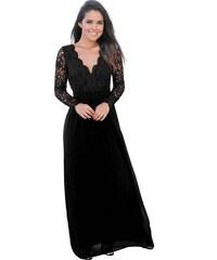 0defa94e70d Černé krajkové dlouhé šaty s rukávy a výstřihem