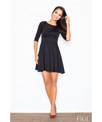FIGL Dámske čierne šaty v A línii s kruhovou sukňou a 3 4 rukávmi M081 06255e2244d