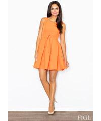 FIGL Dámske oranžové šaty Retro so skladanou sukňou a opaskom M083 L 75bdf89989b
