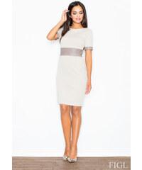 FIGL Dámske púzdrové šaty s koženým pásom béž M204 XS 1ec67951bd9