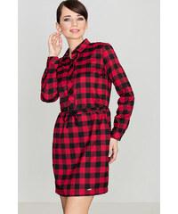 84a1a58fa560 Lenitif Dámske kockované čierno-červené košeľové šaty s opaskom K256