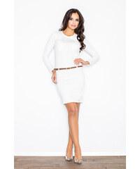 0d036eb74087 FIGL Dámske biele púzdrové šaty s béžovým opasokom M414