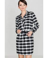 Lenitif Dámske kockované čierno-biele košeľové šaty s opaskom K256 b7aaf519ca7