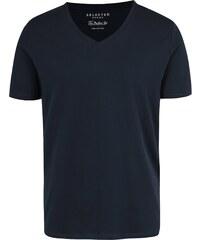 e52aea38214d Tmavě modré basic tričko s véčkovým výstřihem Selected Homme