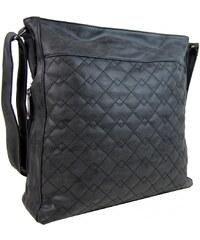 Tapple Velká černá crossbody kabelka z broušené kůže 613-3 5dd5597a297