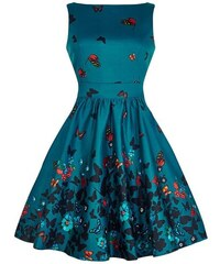Modro zelené šaty s motýlky Lady V London Tea e4783c99fc
