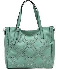 Dámská kabelka Dudlin, s cvočky - světle zelená barva